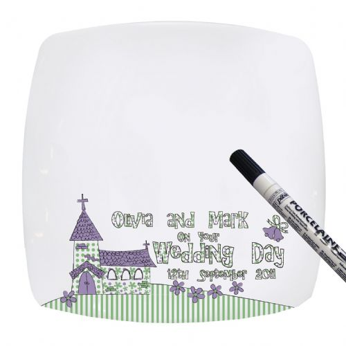 Personalised Whimsical Church Wedding Message Plate